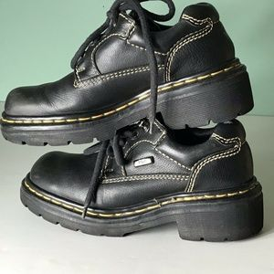 Dr Marten Hiking Shoes England Yellow Stitch Black